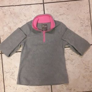Old Navy heathered gray and neon pink zip up